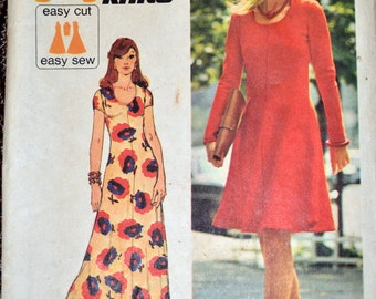 Vintage 1970 Sewing Pattern Simplicity 6082 Jiffy Knit  Dress Size 12 Bust  34 inches Complete