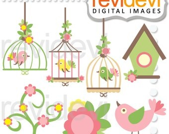 Birdcage clip art - Bird clipart - Pink Lime Lovely Birds Cliparts.. Instant Download - pink green whimsical