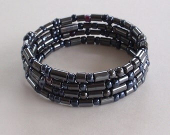 Hematite round tube bead memory wire bracelet