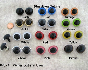 5 PAIR 24mm or 27mm or 30mm or 34mm Plastic Safety Eyes Choose ONE Color for puppet, teddy bear, doll, plush animal, sew, crochet ( PE-1 )