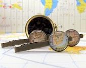 Antique Bronze Personalized, Custom Map Tie bar