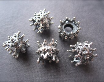 Sterling Silver Plated over White Bronze Baby Queen Urchin Double Sided Spacers - 9.5mm X 10mm