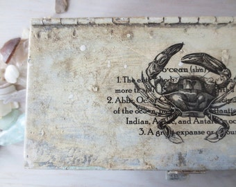SALE - Beach House Decor - Organization - Crab Print- Nautical Storage - Metal Box - Rustic Beach - Coastal - Vintage Beach - Reclaimed