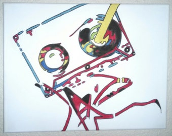 Cassette Tape with Pencil, Rewind Abstract Pop Art