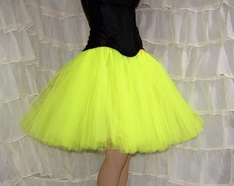 Neon Day Glow Yellow Romance Knee Length TuTu skirt adult All Sizes MTCoffinz