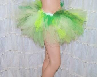 BONANZA Triple Green Faerie Trashy Ragged TuTu Skirt Adult Medium - MTCoffinz - Ready to ship