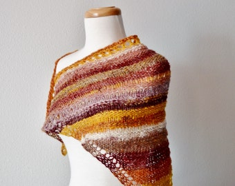 Women's Scarf - Triangle Scarf, Mini Shawl, Autumn Colors - Burnt Orange, Dusty Gold, Burgundy Red. Women's Light Scarf. The Scout Scarf.
