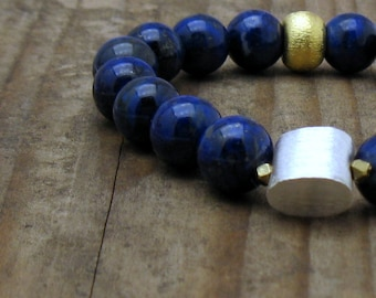 Cobalt Blue Lapis Lazuli Minimalist Beaded  Bracelet Silver  Gold Lapis Stretch Luxe Unisex Under 300 US Free Shipping & Gift Wrap
