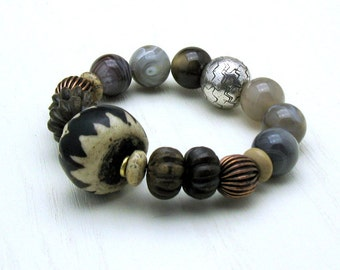Brown Tribal Boho Beaded Bracelet, Boutique Wearable Art, OOAK Geometric Chunky, US Free Shipping, Unisex Under 180