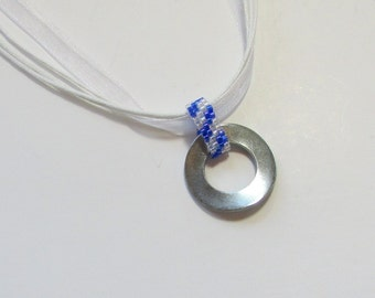 Industrial Necklace - Washer Necklace - Metal Pendant - Hardware Necklace - Stainless Steel Pendant - Blue Striped Pendant - Beaded Pendant