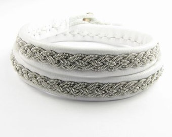 White Double Wrap Sami Bracelet - Leather Wrap Tin Metal Thread Braided Bracelet with Reindeer Leather and Antler Button Clasp