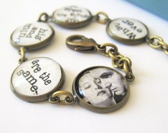 Wuthering Heights Emily Bronte Quote Antique Brass Bracelet
