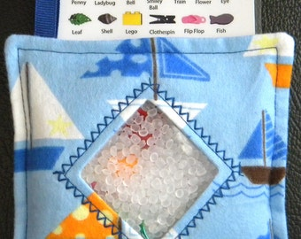 I Spy Bag - Mini with SEWN Word List and Detachable PICTURE LIST- Sailboats