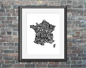 France typography map art...