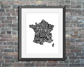 France typography map art print 8x10 customizable francophile poster wedding engagement graduation gift anniversary personalized wall decor