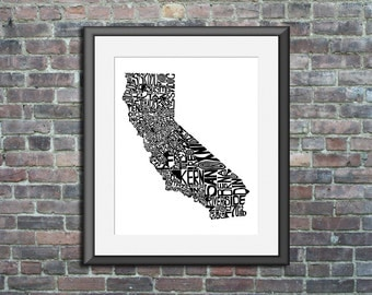 California typography map art print 16x20 customizable state poster personalized wedding engagement graduation gift anniversary wall decor