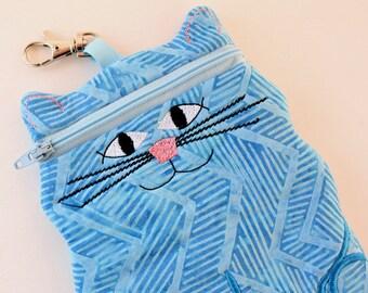 iPhone 6 fabric case Turquoise Blue Batik Cat shaped