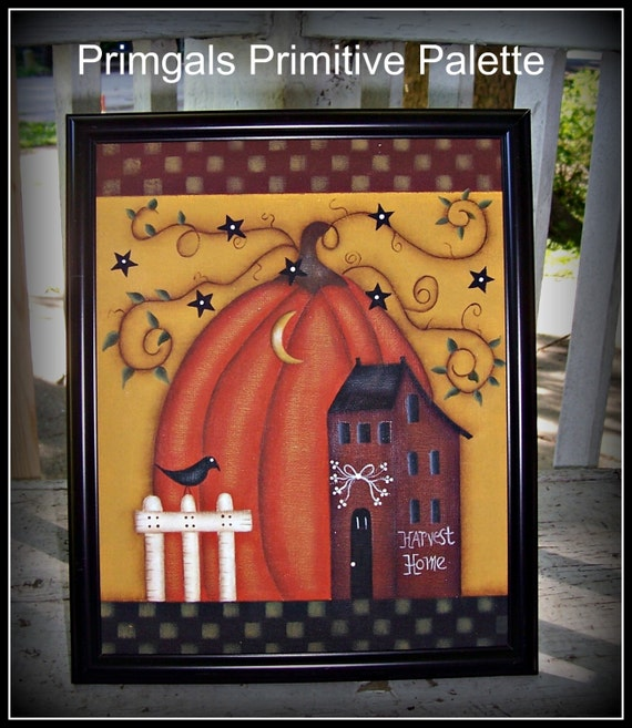 Primitive Fall Autumn Pumpkin Saltbox House Canvas Framed Home