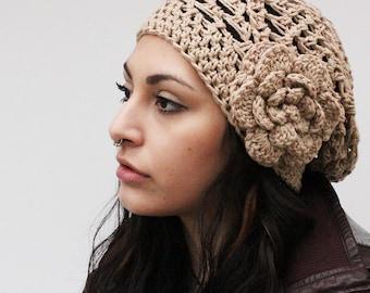The Boho Lace Slouch boho beret vegan Mori Girl Hat peony flower hemp beige