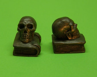 Skull & book  Dollhouse Miniature Set of Bookends