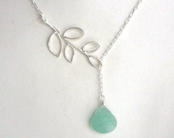 Sterling silver leaf neklace with Sea green jade heart bead, lariat necklace