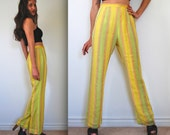 Vintage 50s 60s Pineapple Sherbet High Waisted Striped Textured Trousers