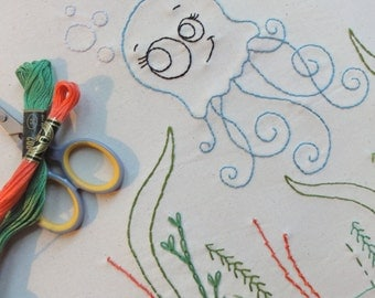 Jolly Jellyfish Embroidery Pattern - Instant Download
