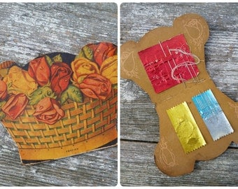 Vintage Antique old French 1930/30s sewing kit / needles kit in a printed basket of roses