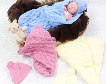 KNITTING PATTERN For Baby Cuddle Sac Cocoon Papoose & Hat in 3 Sizes PDF 170 Digital Download