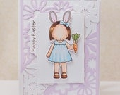 Hand Stamped Greeting Card - Happy Easter