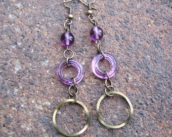 Eco-Friendly Dangle Earrings - A Wrinkle in Time - Recycled Vintage Purple Glass Beads and Wavy Brass Hoops
