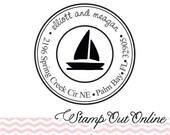 Nautical sailboat custom return address rubber stamp --2451