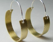 Brass and Sterling Silver Earrings,  Simple Textured Hoop Earrings, Brass Hoops