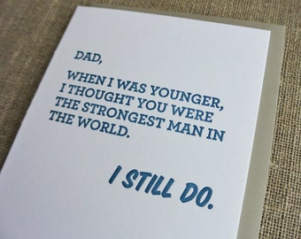Letterpress Father's Day Card - Strongest Man