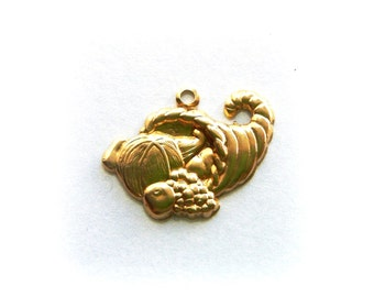 BRASS (11 Pieces) Thanksgiving CORNUCOPIA Charms ~ Brass Stamping ~ Jewelry Findings (G)