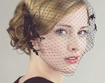 Black Birdcage Veil With Beaded Lace
