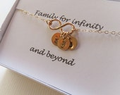 Family Necklace & Card SET Personalized Infinity NecklaceSister Mother Infinity Jewelry,Up to Three Initials,Gold or Silver,Grandma Necklace