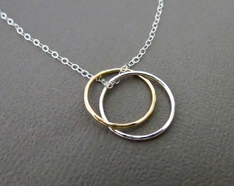 Entwined Circles Necklace,Gold Fill Silver Rings,Mother Daughter Necklace,Metalwork Circles Necklace, Dangling Circles Pendant,Mixed Metals