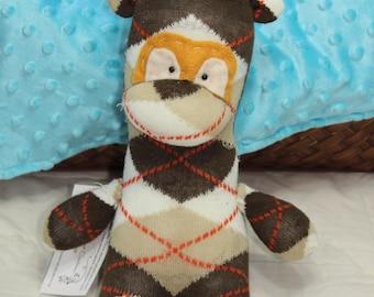 Sock Giraffe - Brown and Yellow