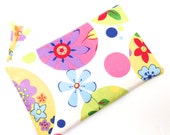 Zippered Pouch, Makeup pouch, Pencil case,  Flowers in Blue Purple Yellow on White