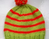 Childs pompom hat vegan knit hat beanie lime green paprika orange red by SpinningStreak