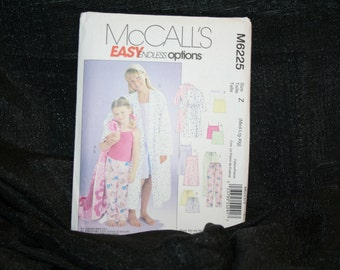 UNCUT McCalls 6225 Childrens' and Girls Robe, Tops, Gown, Shorts, Pants Pajamas Sewing Pattern SEWBUSY12
