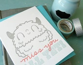 Miss You All Yeti Letterpress Note Card