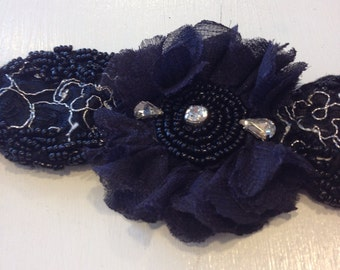 black and silver beaded headband