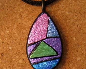 Dichroic Glass Pendant - Picasso Pendant - Fused Glass Pendant - Dichroic Jewelry - Fused Glass Jewelry