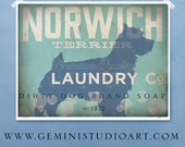 Norwich Terrier laundry company laundry room artwork giclee archival signed artists print Pick A Size