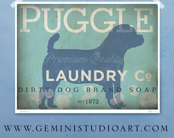 Puggle laundry company laundry room artwork giclee archival signed artists print by Stephen Fowler Pick A Size