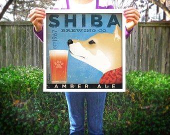 Shiba Inu dog brewing company original graphic illustration giclee archival signed artist's print by stephen fowler Pick A Size