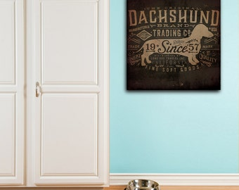 dachshund Trading Company dog graphic illustration on gallery wrapped canvas by Stephe Fowler