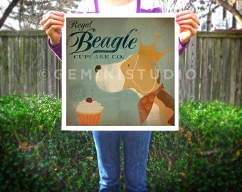 Regal Beagle dog Cupcake Company giclee archival signed artist's print by stephen fowler PIck a Size